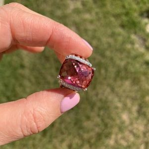 David Yurman Whaton Ring Tourmaline Diamonds 12x16